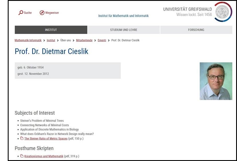 Prof. Dietmar Cieslik: Kreationismus und Mathematik