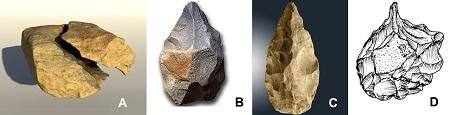 Stein-Werkzeuge verschiedener archäologischer Kulturen
